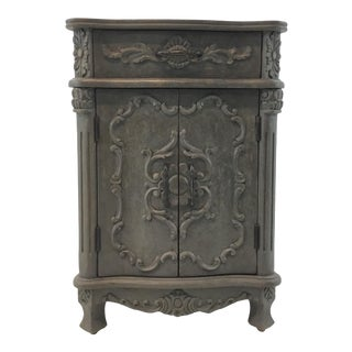 Currey & Co. Traditional Carved Gray Wood Caliban Cabinet/Side Table For Sale