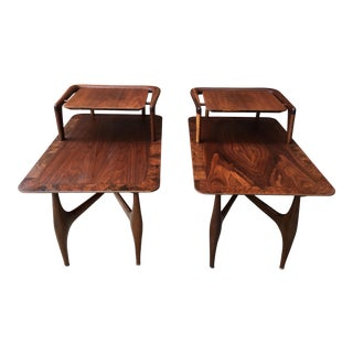 1960s Mid-Century Modern Walnut Atomic Step Tables - a Pair For Sale