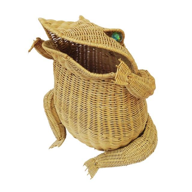 1970s 1970s Vintage Whimsical Rattan Wicker Frog Basket For Sale - Image 5 of 11