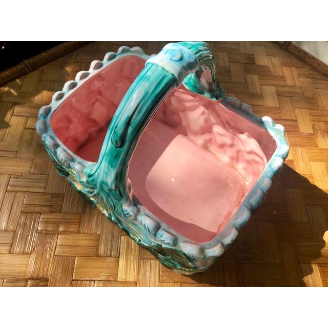 Ceramic Vintage Faience Ceramic Ivy Basket For Sale - Image 7 of 11