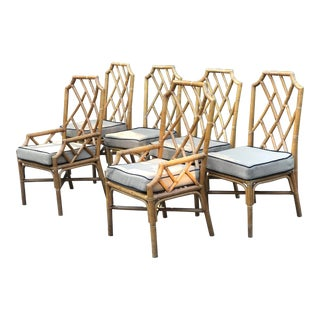 Vintage Chippendale Rattan Chairs Set of 6 For Sale