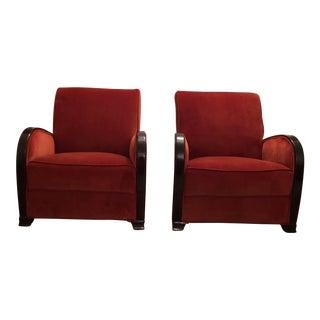 Art Deco Club Chairs - A Pair For Sale