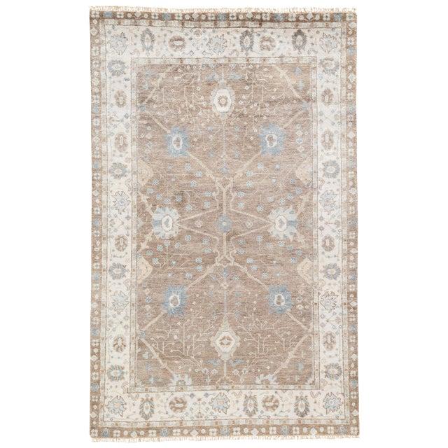 Jaipur Living Princeton Hand-Knotted Floral Tan / Light Blue Area Rug - 5′ × 8′ For Sale