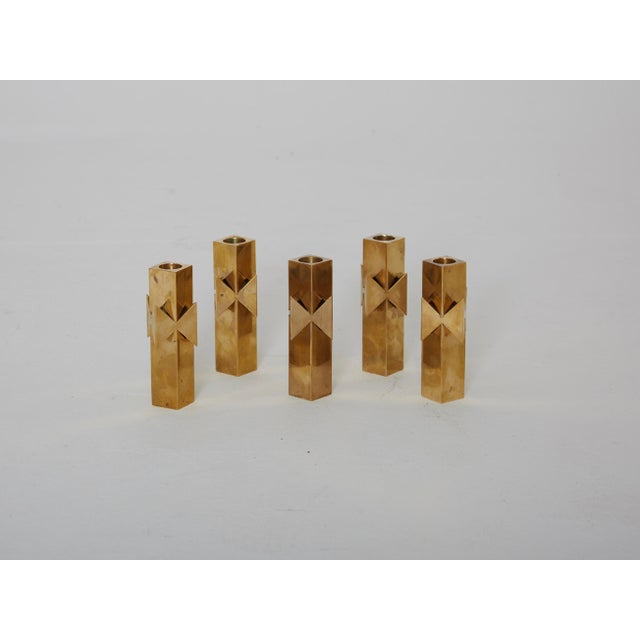 Mid-Century Modern 1960s Vintage Pierre Forssell for Skultuna Solid Brass Candlesticks - Set of 5 For Sale - Image 3 of 6