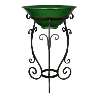 Green Bowl & Iron Stand For Sale
