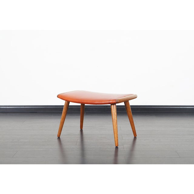 "An exceptional Danish modern ""Papa Bear"" chair and ottoman in the manner of Hans J. Wegner, model AP-19. Newly..."