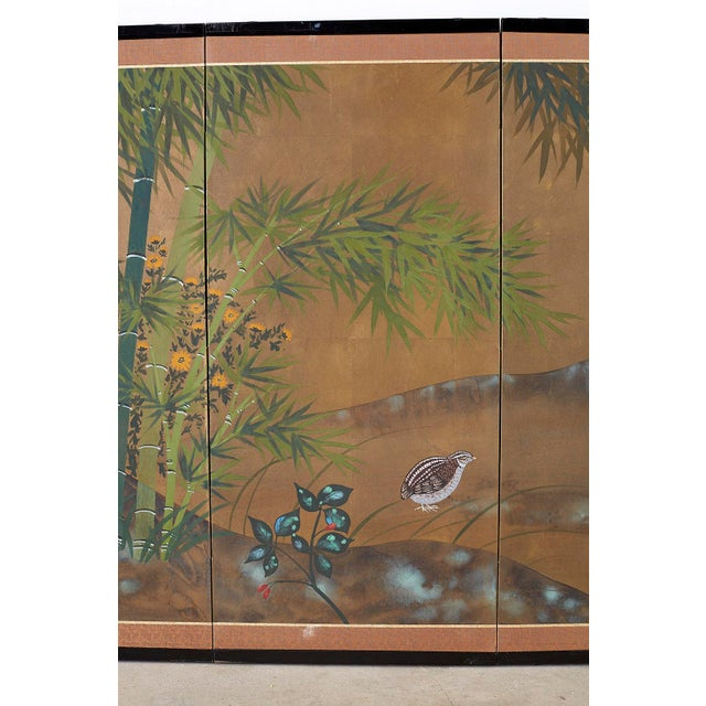 Japanese Four Panel Screen Quail in Flower Bamboo Landscape For Sale - Image 4 of 13