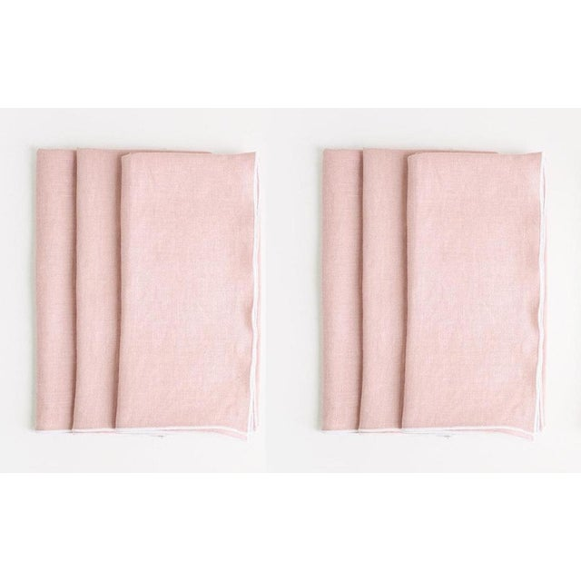 2020s Rosewater with White Trim Linen Napkin - Set of 6 For Sale - Image 5 of 5
