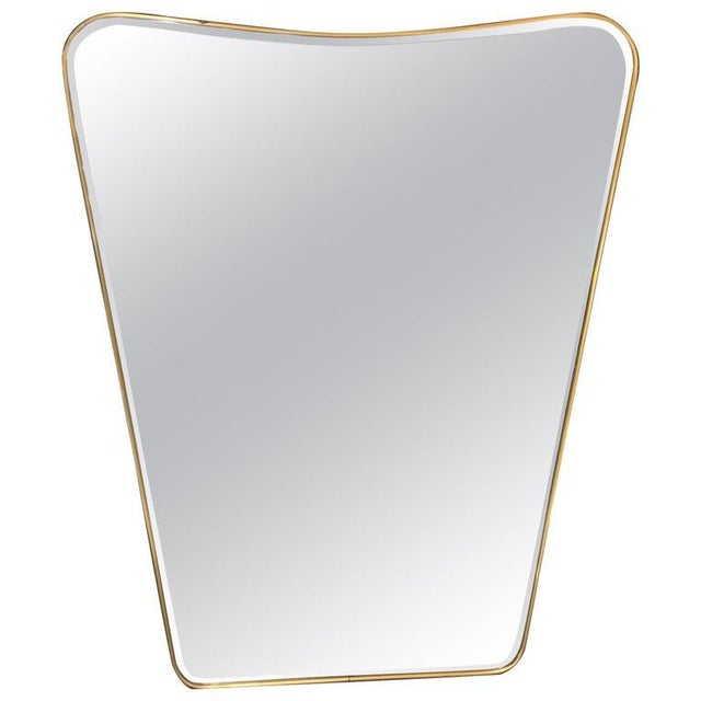 Oversized Italian Minimal Curvilinear Brass Mirror, 1950s For Sale - Image 10 of 10