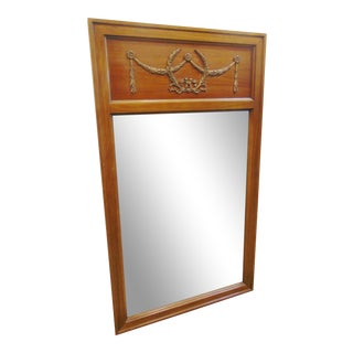 Mid 20th Century Louis XVI Style Fruitwood Trumeau Mirror For Sale