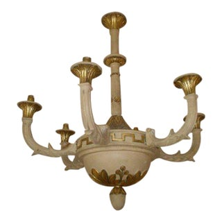 Paint and Gilt Chandelier with Greek Key Decoration