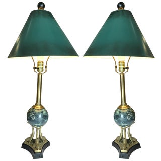 Brass and Marble Sculptural Dolphin Table Lamp, Pair For Sale