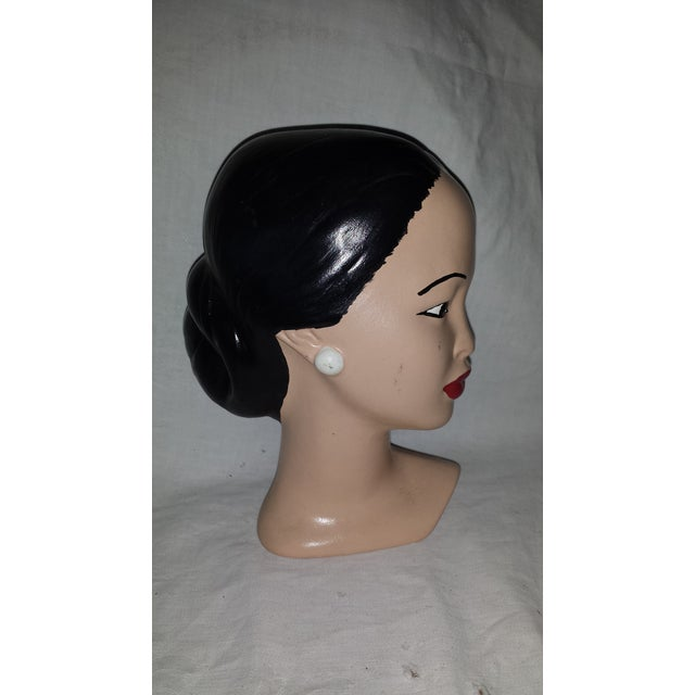 Vintage Chalkware Lady Head Bust For Sale - Image 4 of 7