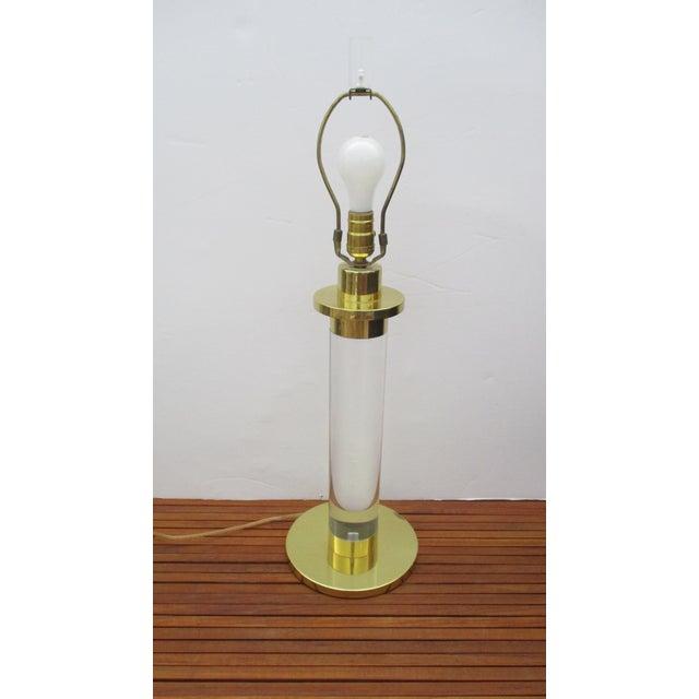 Modern Mid Century Modern Modernist Karl Springer Style Lucite Table Lamp For Sale - Image 3 of 13