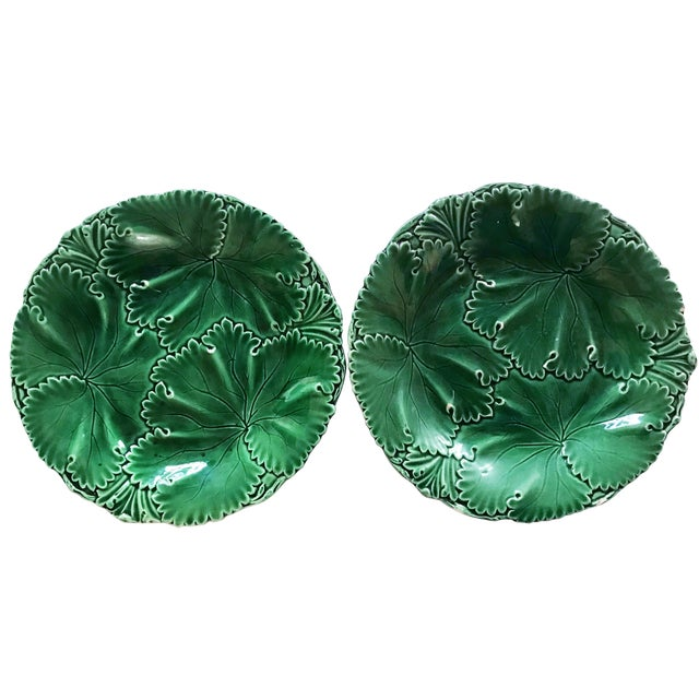 Pair of Green Majolica Cabbage Leaf Plates by Copeland For Sale