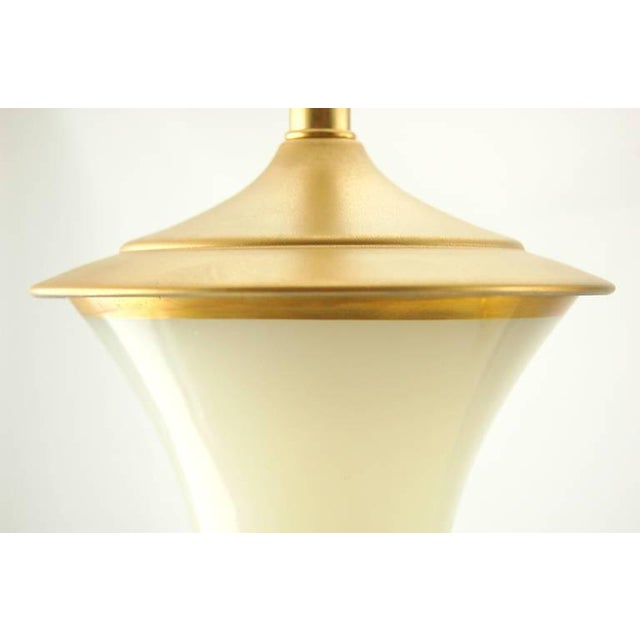 Brass Vintage Murano Opaline Glass Table Lamps White Gold For Sale - Image 7 of 8