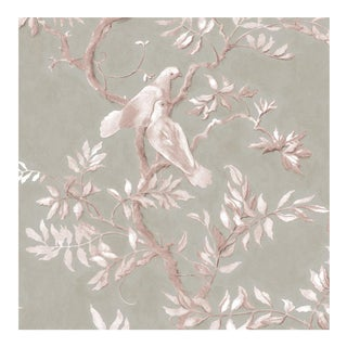 Lewis & Wood Doves Flax Extra Wide Printed Botanic Wallpaper Sample For Sale