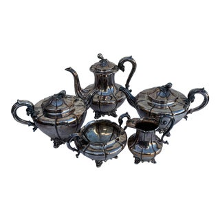 Early 20th Century Double Teapot Paneled Tea and Coffee Set in Silver Plate With Bird Mark - 5 Pieces For Sale