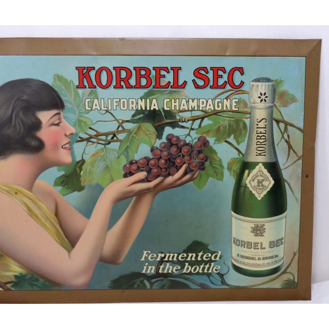 Art Deco 1920s Antique California Champagne Advertising Sign For Sale - Image 3 of 13