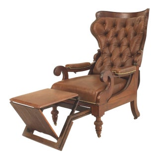 English Victorian Mahogany Arm Chair with Footrest For Sale