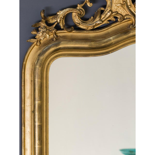 Antique French Louis Philippe Mirror with a Cartouche circa 1890 For Sale - Image 4 of 10