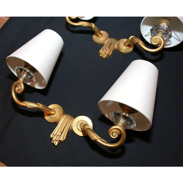 "Art Deco Pair of ""Draperie"" Wall Sconces by Jules Leleu For Sale - Image 3 of 7"