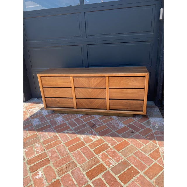 MCM Lane 9-Drawer Dresser With Chevron Drawers For Sale - Image 9 of 9