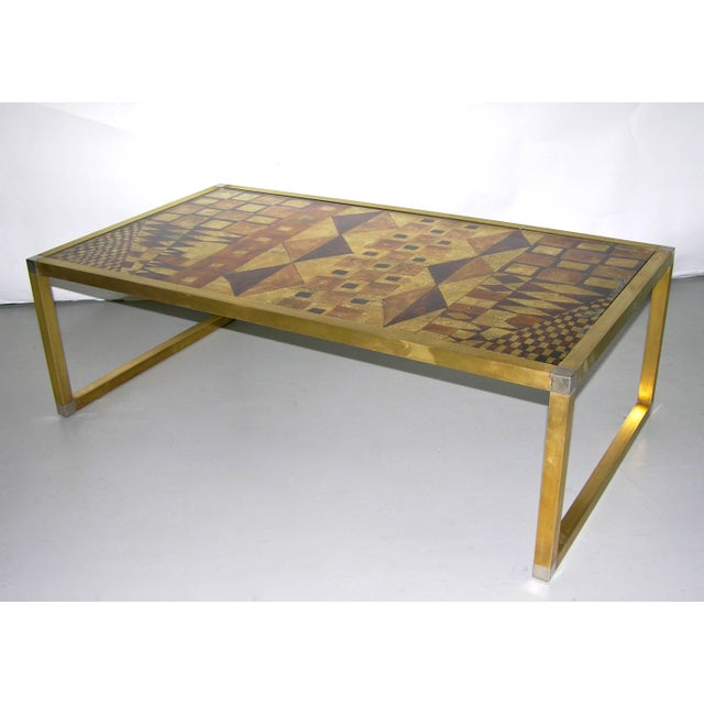 Italian one-of-a-kind 1970s low table of modern shape, a unique piece hand gilt and signed by Rita Lois, Italian painter...