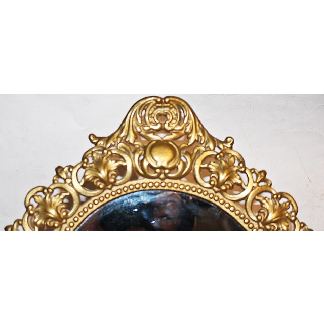 Rococo Round Gilt-Metal Vanity Mirror For Sale - Image 3 of 6