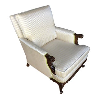 Vintage Gimbel Bros French Style Hollywood Regency Bergere Lounge Chair For Sale