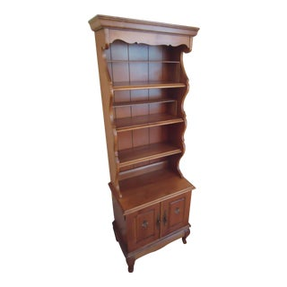 20th Century Traditional Maple Wood Bookcase Display Cabinet For Sale