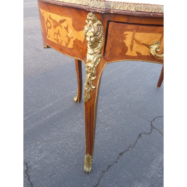 Vintage French Louis Xvi Style Ormolu Bureau Plat Writing Desk