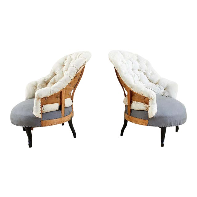 Pair of French Napoleon III Deconstructed Slipper Chairs For Sale