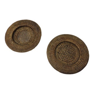 Pair of Vintage Rattan Woven Wine Bottle Coasters For Sale