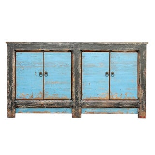 Blue Asian Sideboard Cabinet For Sale