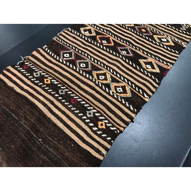 1960s Vintage Decorative Turkish Anatolian Hand-Woven Kilim Runner- 1′10″ × 10′10″ For Sale - Image 9 of 11