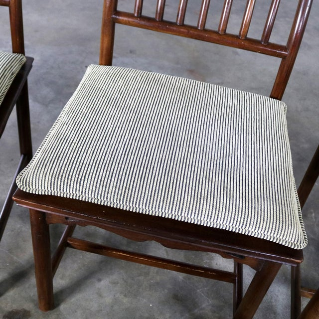 Four Drexel Heritage Chinoiserie Ming Style Spindle Back Dining Chairs For Sale - Image 11 of 13