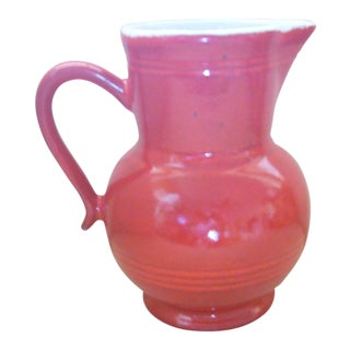 Vintage Red Ceramic Pitcher For Sale