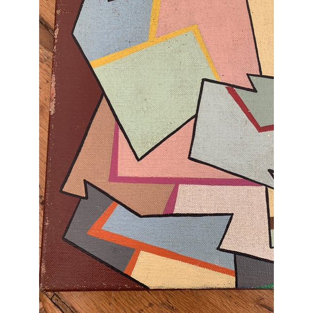 1960s Vintage Abstract Geometric Painting by Achi Sullo For Sale - Image 4 of 6