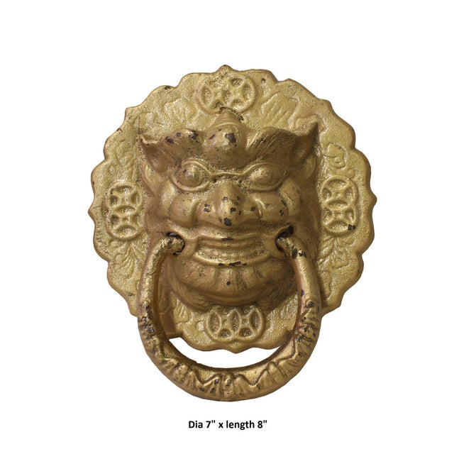 Metal Chinese Metal Distressed Matte Gold Color Lion Head Shape Pull Handle Display For Sale - Image 7 of 8