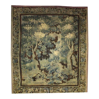Mid-18th Century Louis XIV Style Antique French Aubusson Verdure Tapestry - 8'x9' For Sale