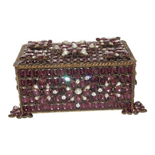 Vintage Purple Swarovski Jeweled Box For Sale