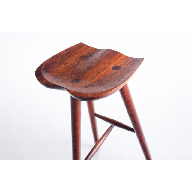 1960s Hand Crafted Stool in Walnut For Sale - Image 5 of 9