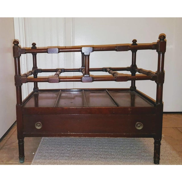 High quality, solid mahogany, single drawer, Chippendale style, Victorian Canterbury. There are 4 slots on two layers to...