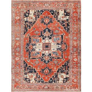Large Antique Persian Serapi Rug - 12′ × 15′1″ For Sale