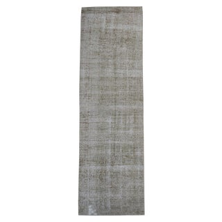 "Vintage Turkish Overdyed Distressed Wool Runner - 9'7"" X 2'10"" For Sale"