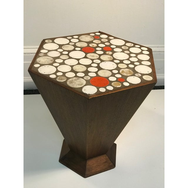 """Unusual tile accent table with beautiful colored tile, 1960's. Measuring 15 1/2"""" by 18"""", 17 1/2"""" high. Good vintage..."""