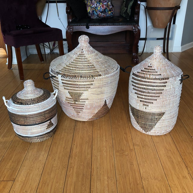 Brown Geometric Hand Woven Monochromatic Baskets- Set of 3 For Sale - Image 8 of 8