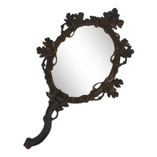 Black Forest Carved Hand Mirror For Sale