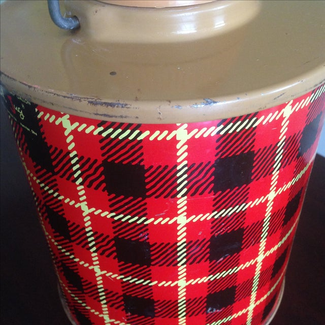 Vintage Plaid Metal Cooler Thermos - Image 7 of 11